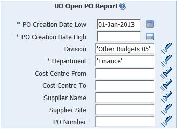 uo open po report screenshot