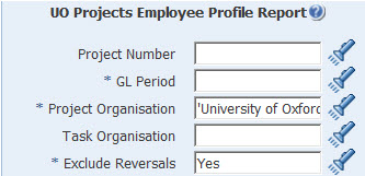 uo project employee profile report parameters