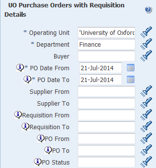 uo purchase orders with requisition details